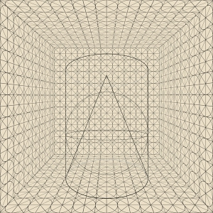 """Circle, Gridded Room with Geometric Solids"", 2014, archival inkjet print, 20"" x 20"""
