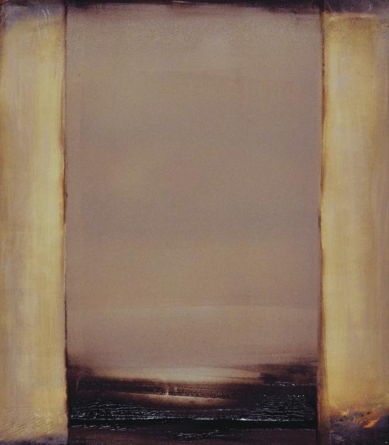 """Shadow's Gate"", 2014, oil & wax on Yupo paper, 8 x 7"" im., 11 x 17"" fr."
