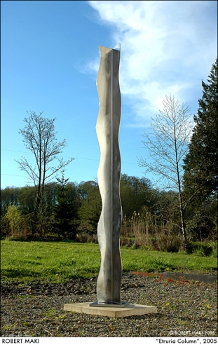 """Etruria Column"", 2005, stainless steel, 144""  x 14"" (from Robert's sculpture garden)"