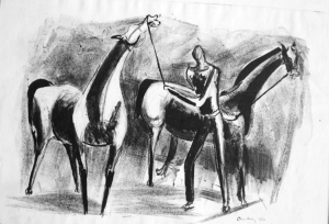 "One of the pieces Carolyn grew that is now in her collection: Tom Hardy's 1951 Lithograph, ""Horses and Rider"""