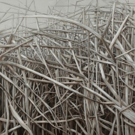 """""""Reeds"""", 2015, oil on canvas, 36 x 36"""""""