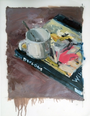"""""""Cup and Book"""", 2015, oil on vellum, 14 x 11"""""""