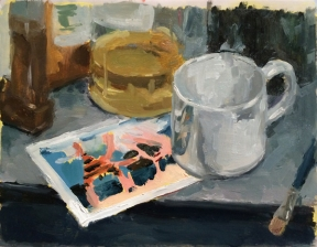 """""""Cup and Card"""", 2015, oil on vellum, 9 x 12"""""""