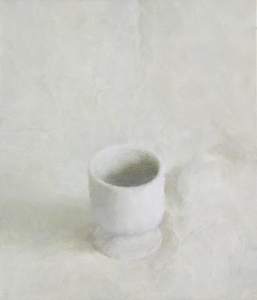"""Still Life with White Cup"", 2015, oil on linen, 14 x 12"