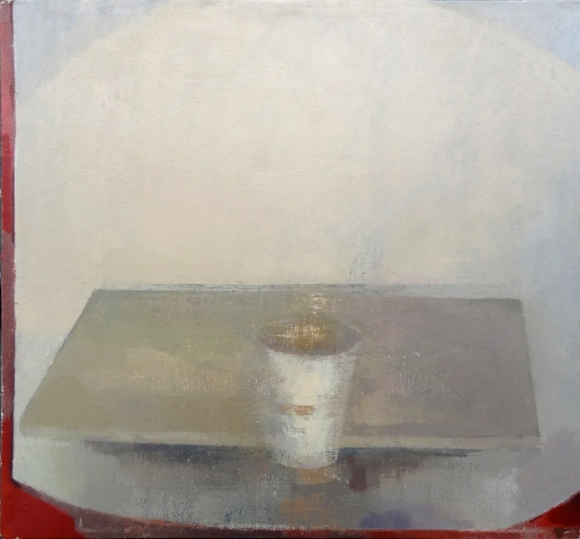 """White Cup"", 2015, oil on canvas, 15 x 16"""