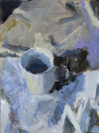 """White Cup on White Cloth"", 2015, oil on panel,16 x 12"""