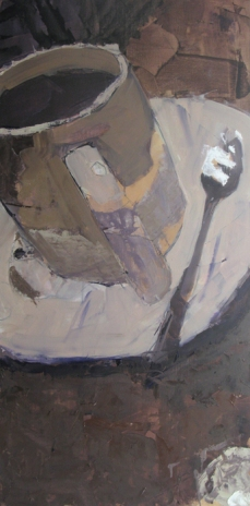 """White Cup with Spoon"", 2015, oil on panel, 36 x 18"""