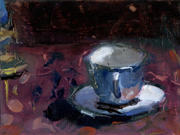 """White Tea Cup"", 2015, oil on panel, 6 x 8"""