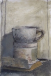 """White Cup with Jar"", 2015, mixed media on paper, 14 x 10"""