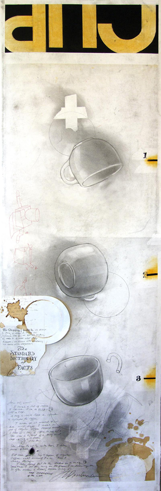 "Fred Birchman, ""The Inference of the Cup"", 2015, mixed media on paper, 12.75 x 41"""