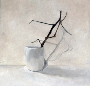 "Kimberly Clark, ""White Cup with Cotton Branch"", 2015, oil on paper, 10 x 10"""
