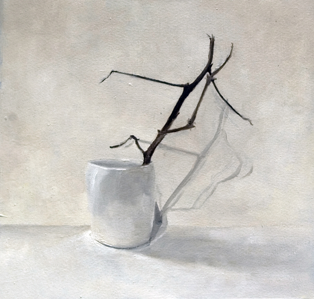 """Kimberly Clark, """"White Cup with Cotton Branch"""", 2015, oil on paper, 10 x 10"""""""