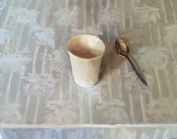 """White Cup"", 2015, oil on canvas, 16 x 20"""