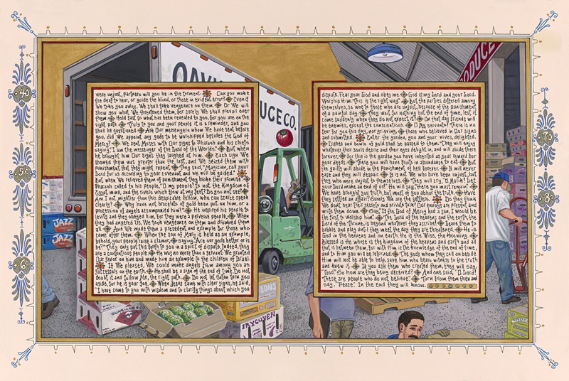 """""""American Qur'an: Sura 43"""", Suite of 2 (B), 2013, ink & gouache on paper, 16"""" x 24"""" im., 19"""" x 27"""" fr."""