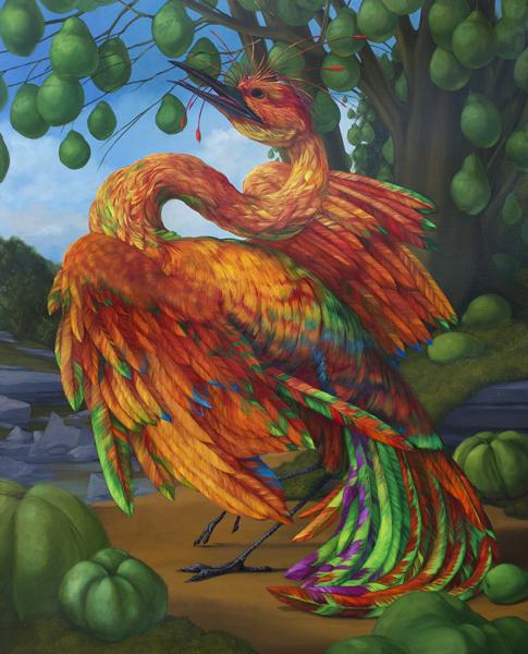 """Chemical Love Birds: Schizoanalysis 2"", 2014, oil on canvas, 30 x 24"" im."