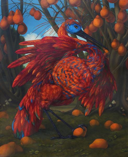 """Chemical Love Birds: Psychotopia"", 2014, oil on canvas, 30 x 24"" im."