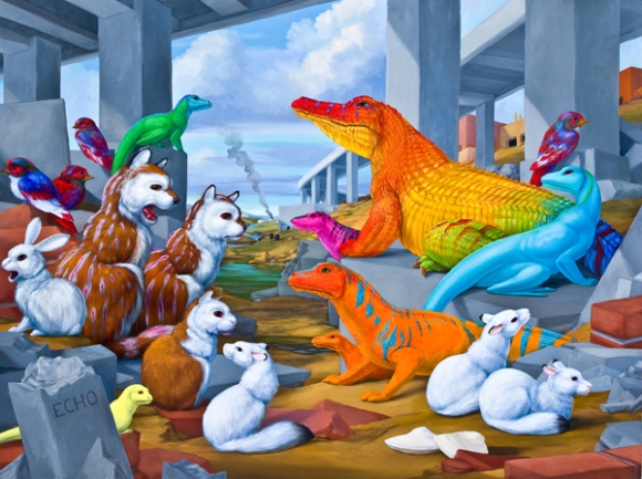 """Echo Turnpike (Habitat Diorama with Rubble-Dwelling Species)"", 2014, oil on linen, 30"" x 40"""