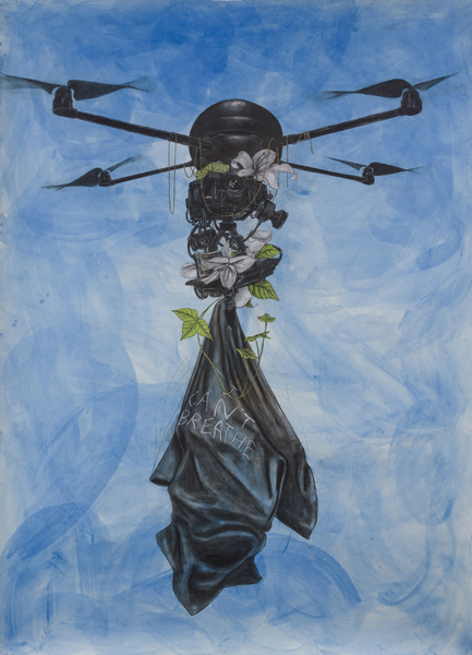 """Archangel"", 2015, mixed media on paper, 84"" x 60"" unframed"