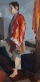 """Figure in Red Robe"", 2014, oil on hardboard, 37 x 18.5"""
