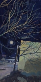 "Tree Shadow by the Alibi Room"", 2015, gouache, 9 x 4.75"""