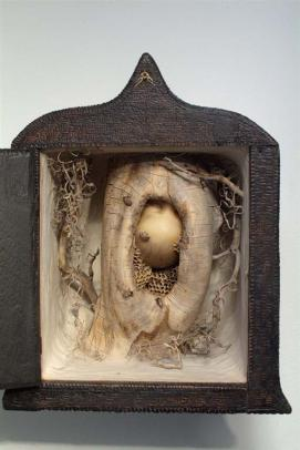 """Queen Bee"", 2006, votive box (1800's), hemiptera parts and nests, wood, plastic, hair, acrylics, sealants, steel, 15"" x 12"" x 8"""