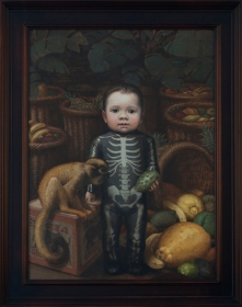 """Skeleton Boy"", 2014, oil on panel, 24"" x 18"""