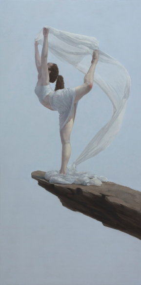 """Air (cearuleus)"", 2015, oil on panel, 48"" x 24"""