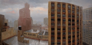 """Gramercy, Rainstorm"", 2015, oil on canvas, 24"" x 48"""