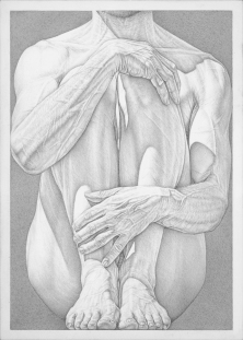 """Hold"", 2015, silverpoint, 7"" x 5"""