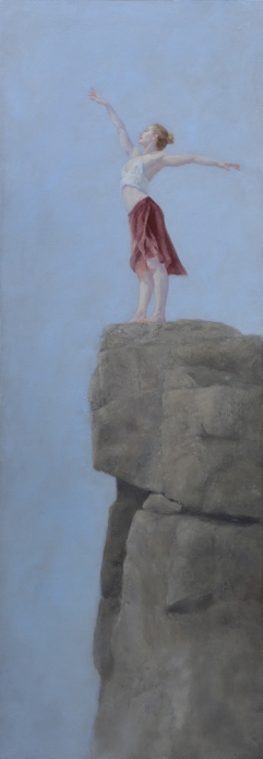 """Mist Upon the Precipice"", 2016, oil on linen, 48"" x 17"""