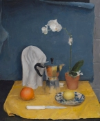 """Still Life in Blue and Yellow"", 2015, oil on canvas, 32"" x 26.5"""