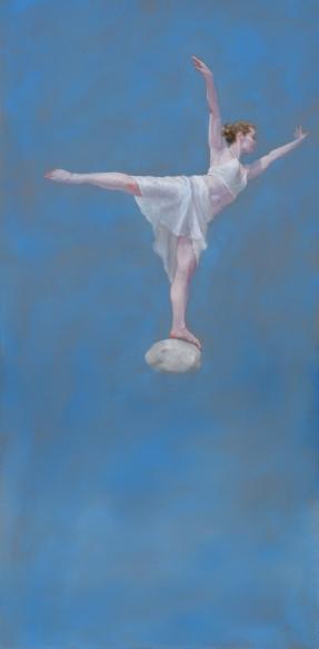 """Untitled (Blue)"", 2016, oil on panel, 32"" x 16"""