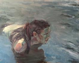 """Fish Hunter"", 2016, oil on canvas, 24"" x 30"""