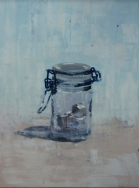 """Glass, Sugar Cube"", 2014, oil on panel, 46 x 34"""
