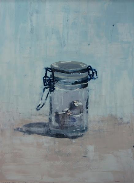 """Glass, Sugar Cube"", 2014, oil on panel, 46 x 34"""