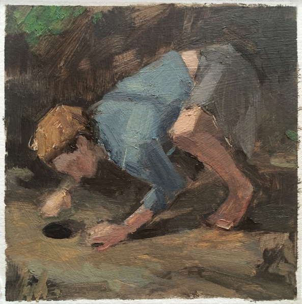 """The Hunter's Hole"", 2016, oil on paper, 6"" x 6"""