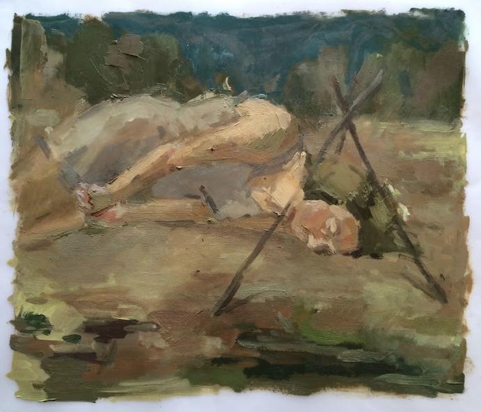 """The Trap II"", 2016, oil on vellum, 14"" x 17"""