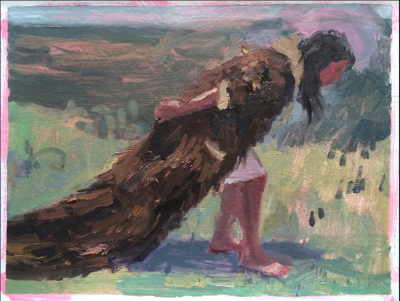 """Winter Coat"", 2016, oil on paper, 9"" x 12"""